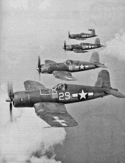 Four F4U's in formation