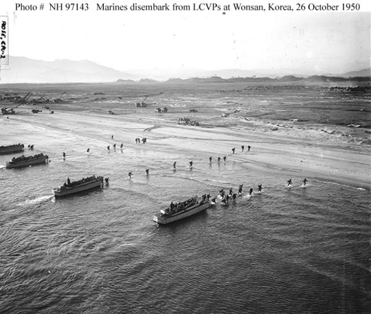 Marines landing off LCVP's at Wonsan