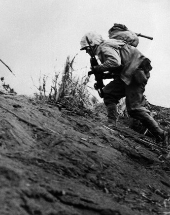 Marine Charges up Hill on Iwo Jima